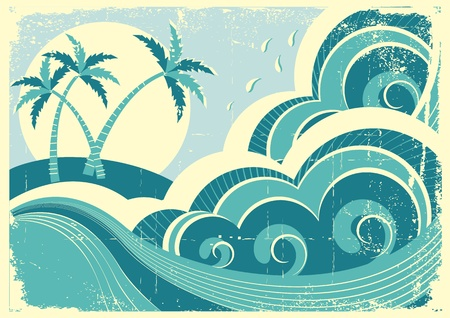frond: sea waves and island Illustration