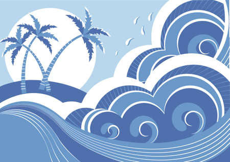 sea waves and island Vector