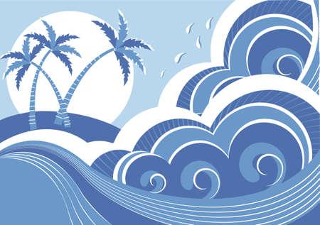 sea waves and island Vector