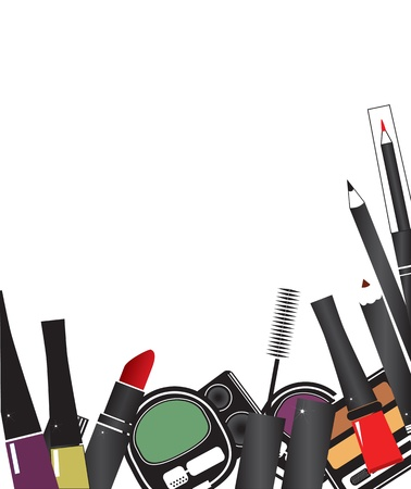 Vector illustrations of make up cosmetics isolated on a white background