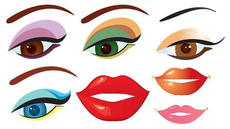 Vector eyes and lips for design on white.Make up  Vector