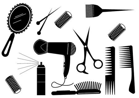 peigne et ciseaux: Salon de coiffure de Style beaut� Element.Vector