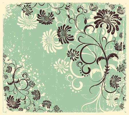 Vector vintage floral decoration .Flowers background on old texture Vector