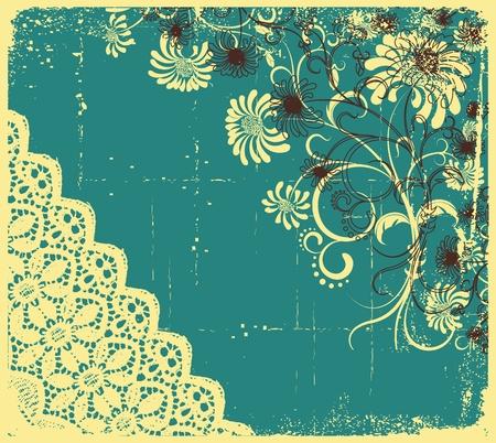 Vintage floral with grunge decoration .Flowers background Vector