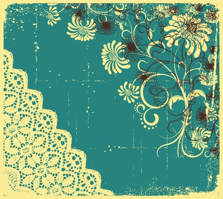 Vintage floral with grunge decoration .Flowers background Stock Vector - 9380588
