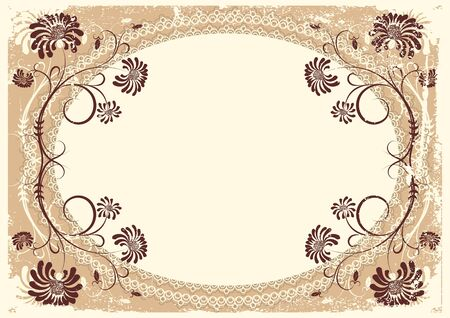 vintage floral background with old decor frame for text Stock Vector - 9394124