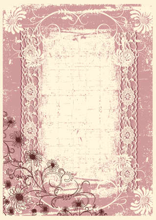 Vintage floral background with grunge decor frame for text Stock Vector - 9394122