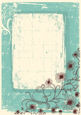 grunge shape: Vintage floral background with grunge decor frame for text