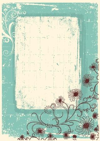 vintage grunge image: Vintage sfondo floreale con cornice decorazione grunge per il testo
