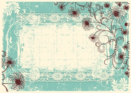 Vintage floral background with grunge decor frame for text Vector