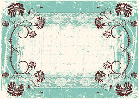 Vintage floral background with grunge decor frame for text Stock Vector - 9394118