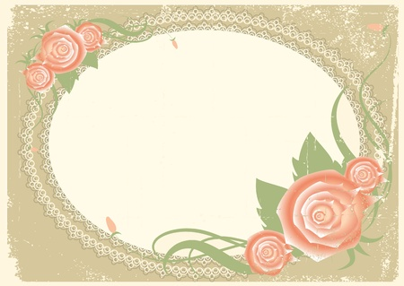Vintage frame with roses flowers for text. Vector