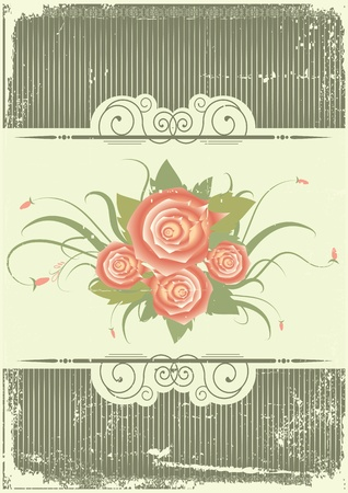 Vintage background with roses.Retro decor card Vector