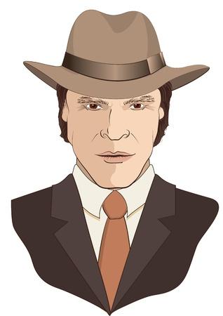 MAn portrait en costume et chapeau blanc