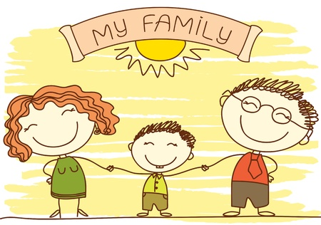 black family smiling: FAmily on white.Vector color happy parents and text.