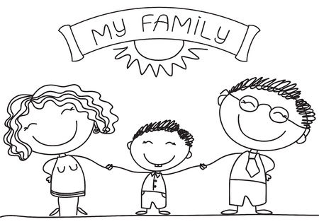 black family: FAmily on white.Vector happy parents and son