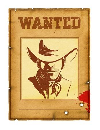 vaquero: Fondo deseado cartel con el retrato de bandido para dise�o en blanco