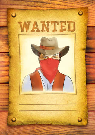 Wanted poster with bandit face in red mask on wood wall photo