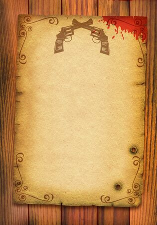 cowboy background: Old paper poster background with guns and blood on white
