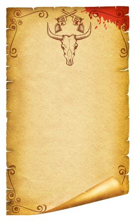 Cowboy old paper background for text with bull skull .Retro image for text photo
