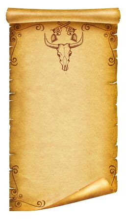 Old paper texture with cow skull decoration and guns  for text.Vintage photo