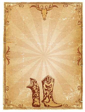 Fondo de papel antiguo de vaquero para texto con marco de decoración.Imagen retro para texto