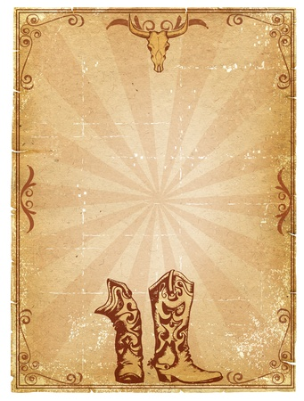 botas vaqueras: Fondo de papel antiguo de vaquero para texto con marco de decoraci�n.Imagen retro para texto