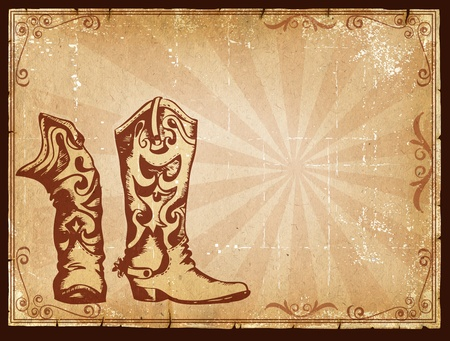 cowboy background: Cowboy old paper background for text with decor frame .Retro image for text Stock Photo