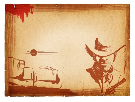 old west: POster with western elements on old paper background.Retro Stock Photo