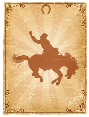 vaquero: Fondo de papel antiguo de vaquero para texto con marco de decoraci�n.P�ster de rodeo retro