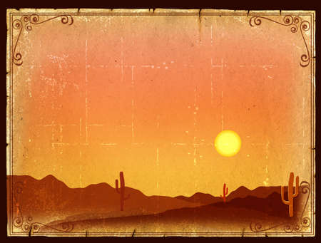 Desert Sunset with Cactus in sunset on old vintage paper background Stock Photo - 9459623