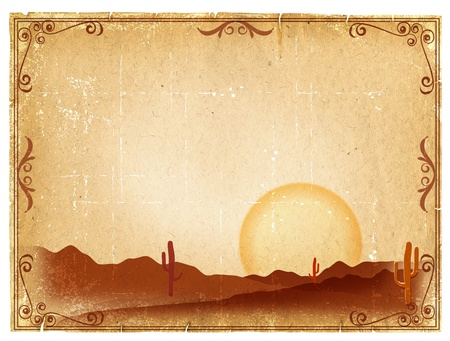 saguaro cactus: Desert Sunset with Cactus in sunset on old vintage paper background