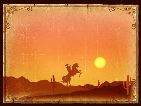 arizona sunset: Desert Sunset with Cactus in sunset on old vintage paper background