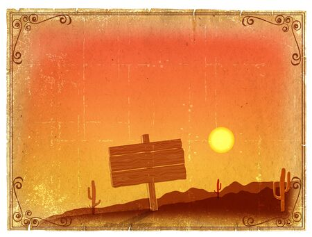Desert Sunset with Cactus in sunset on old vintage paper background photo