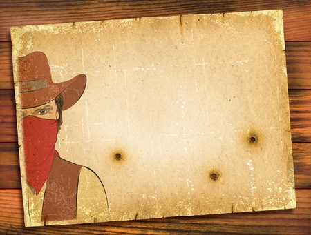 bandit: Old paper background with image of bandit and bullete holes.WEstern poster Stock Photo
