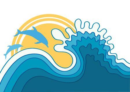 Dolphins in blue sea wave.Vector cartoons seascape Vector