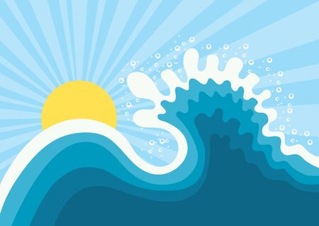 Wave in ocean.Water nature background with sun. Vector