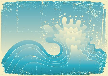 Sea wave. Vintage vector illustration of sea with grunge elements Vector