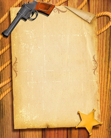 Cowboy Old paper background with gun and sheriff star for text photo