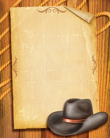 textured paper background: Cowboy Old paper background with hat for text