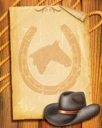 Cowboy Old paper background with hat for text photo
