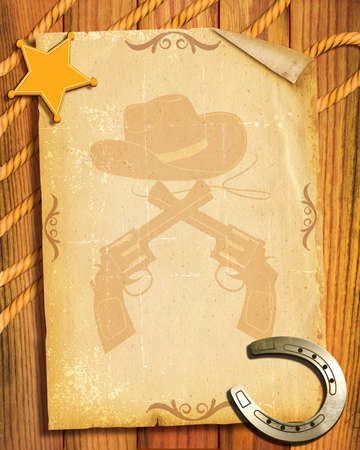 Cowboy style.Old paper background with sheriff star and horseshoes photo