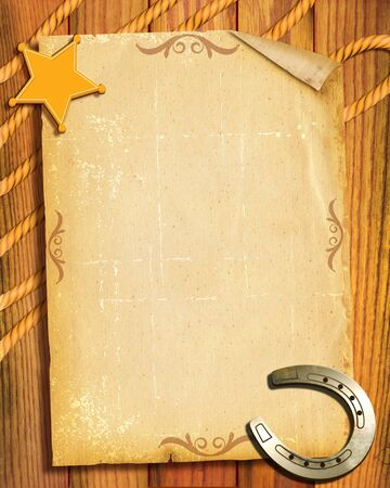 wild west: Cowboy style.Old paper background with sheriff star and horseshoes Stock Photo