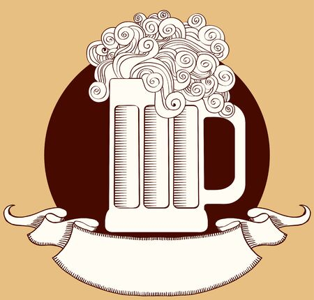 Beer. graphic  Illustration of glass with scroll for text Stock Vector - 9513843