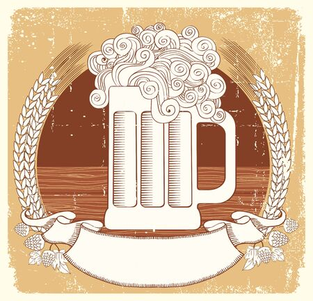 beerhouse: Beer symbol.vintage graphic  Illustration of glass with scroll for text