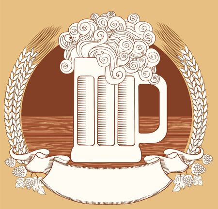 hop: Beer symbol. graphic  Illustration of glass with scroll for text