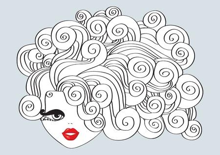 cabello rizado: Linda chica con el pelo rizado y boca roja.