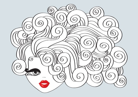 Nice girl with curly hair and red mouth. Stock Vector - 9513841
