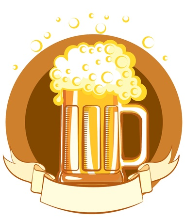 local festivals: Glass of beer. color symbol of Illustration for text