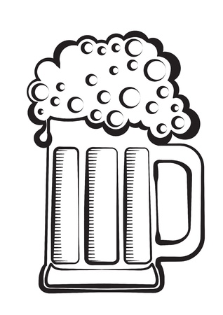 Beer.black graphic Illustration of glass on white Stock Vector - 9533130